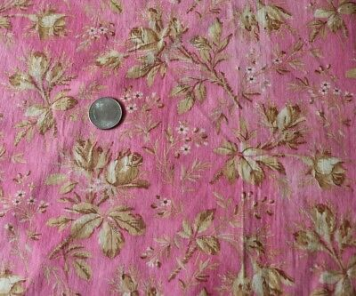 """Antique 19thC American Printed Tan Roses On Bright Pink Cotton Fabric~39""""X23"""""""