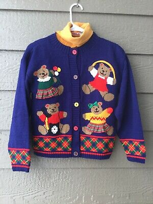 Jet 2 pc Set Cool Kids Clothes - Colorful Unisex Bears Sweater, Sz M,Made in USA