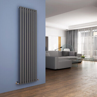 Vertical Designer Radiator 1800 x 480mm Anthracite Oval Column Single Heating