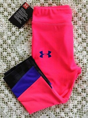 NWT UNDER ARMOUR Girl's Crop Pant Leggings Pink Size 4 Retail $27
