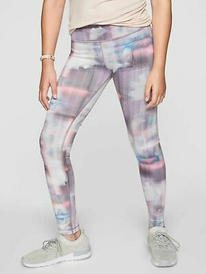 ATHLETA GIRL L (12) Gray TYe DYE CHIT CHAT Full Length LEGGINGS Pant