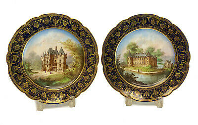 Pair Sevres France Hand Painted Porcelain Topographical Cabinet Plates