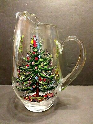 "Spode Christmas Tree Glass PITCHER With Ice Lip Water Jug 10.5""  Vintage - Mint"
