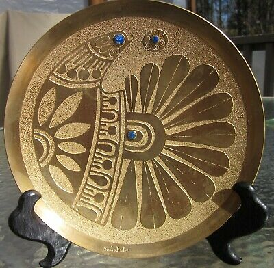 Antique Chilean Two-Tone Brass Bird Wall Plate w 3 Lapis Lazuli Stones. 7.5""
