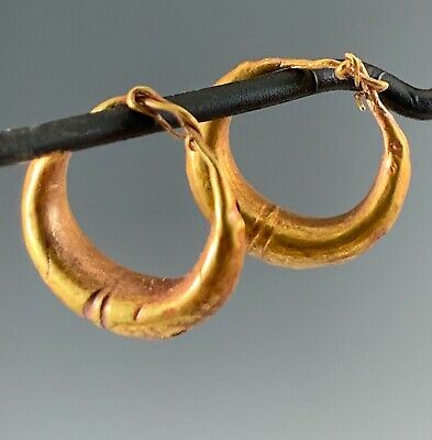 Ancient Roman-Byzantine Gold Hoop Earrings! Stunning Pair!