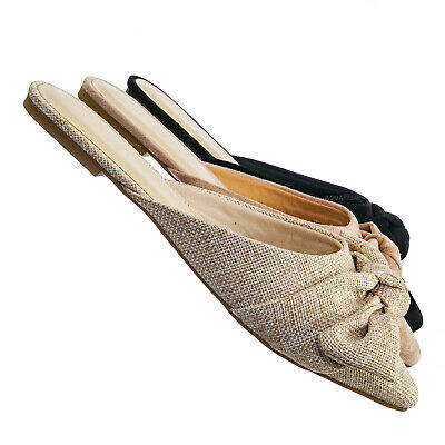 Justify52 Bowtie Mule Loafer Flat Slides - Womens Pointed Toe Backless Slipper