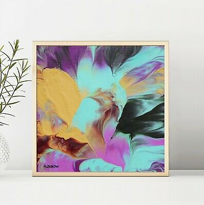 Acrylic Pour Painting Abstract Modern Wall Art on Canvas Flower Abstraction 6x6