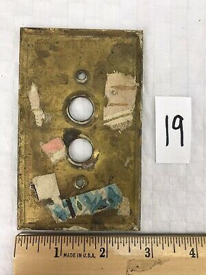Vintage ARROW Solid Brass Push Button Single Light Switch Wall Cover Plate #19