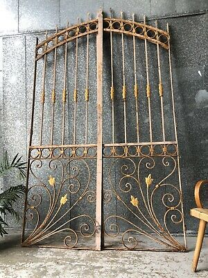 Vintage Set Painted Ornate Wrought Iron Entrance Gates / Security Doors