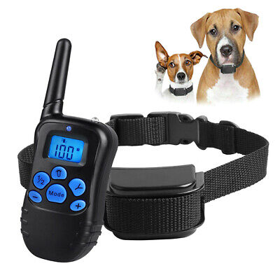 IP68 Pet Dog Training Collar Rechargeable Electric Shock LCD Anti-bark 300 Yards