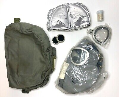 Polish Military-Surplus Gas Mask Set, Gray - Filters, Lense Covers, Bag - NOS