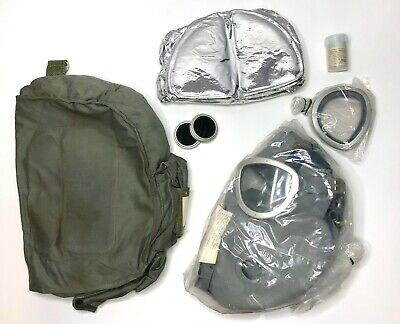 Polish Military-Surplus Gas Mask + 2 Sets of Filters, Gray -Lense Protectors Bag