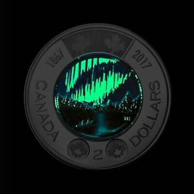 Canada 1867-2017 150th glow-in-the-dark Dancing of spirits UNC $2 toonie coin