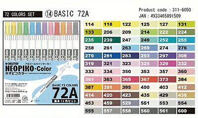 Deleter Neopiko Basic Color Markers 72A from Japan
