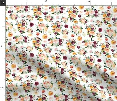 Floral Paprika Roses Mustard Greenmountain Fabric Printed by Spoonflower BTY