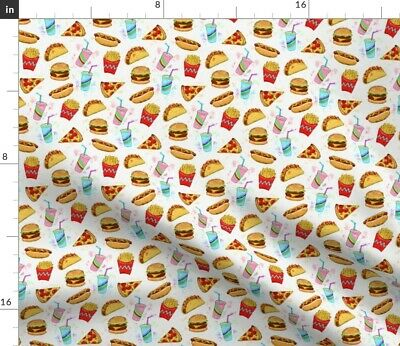 Cheeseburger Burger Kitchen Decor Burger Fabric Printed by Spoonflower BTY
