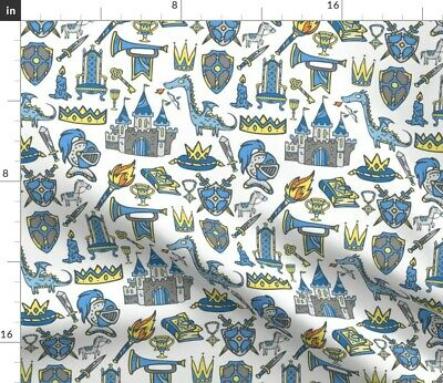 Medieval Castles Greenmountain Knights Armor Fabric Printed by Spoonflower BTY