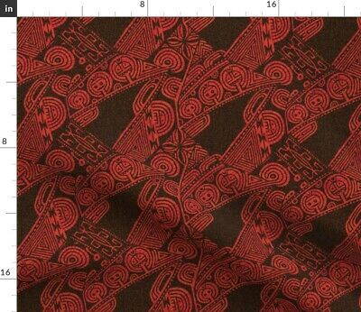 Tiki Art Deco Steampunk Lines Upholstery Decor Fabric Printed by Spoonflower BTY