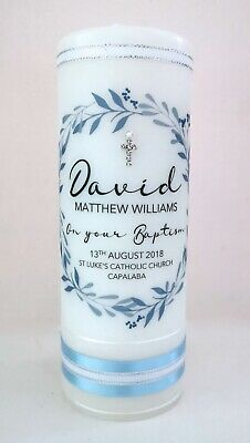 Personalised Baptism & Christening Candle, Pale Blue Berry Wreath