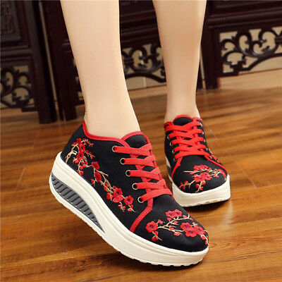 Women Wedge Rocker Sole Shoes Flower Embroidery Casual Comfort Sport Loafers gb