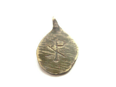 *CHI - RHO* Sign M & T letters Late ROMAN PERIOD Early Christian Billon pendant