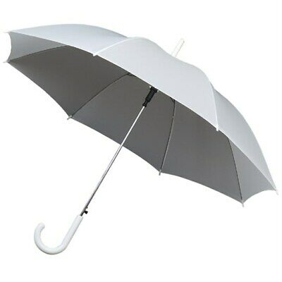 Ladies Umbrella with Curved Crook Handle & Automatic Open in White  - Weddings