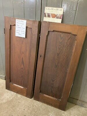 SET of 2 x RECLAIMED OLD PITCH PINE CUPBOARD DOORS (Project / Renovation)