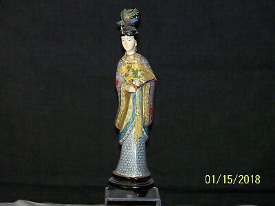 Vintage Chinese Cloisonne Guan Yin Figurine Statue #2