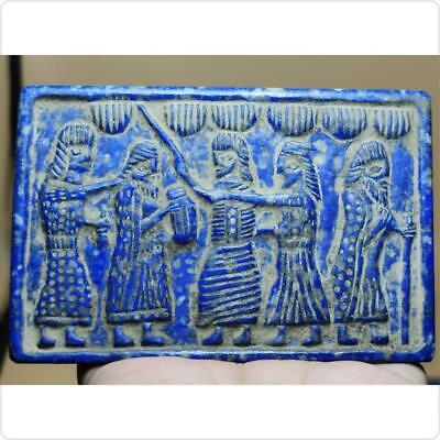 Stunning Old Sassanian King ministers Lapis lazuli Stone Relief    # 125
