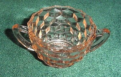 Pink Depression Glass Jeannette Cube Design Two-Handled Sugar Bowl