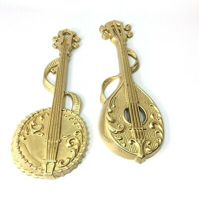 Two Vintage 1976 Sexton Metal Musical Instrument Wall Decor Plaques Goldtone