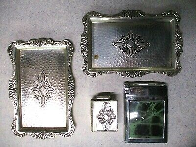 2 VINTAGE MADE IN OCCUPIED JAPAN TABLE LIGHTER CIGARETTE HOLDER 2 TRAYS 1 Ronson