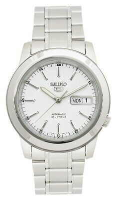 Seiko 5 Automatic White Dial Silver Stainless Steel Mens Watch SNKE49K1 RRP £169