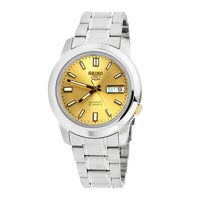 Seiko 5 Automatic Gold Dial Silver Stainless Steel Men's Watch SNKK13K1 RRP £169