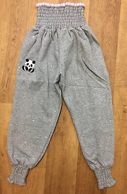 BNWT RICH FASHION GREY GIRLS PANDA  DIAMANTE SPARKLY TRACKSUIT BOTTOMS 6-8 Years