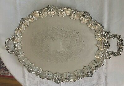 """Silver Plated footed Serving Tray 29.5"""" X19 1/2"""" Excellent Condition"""