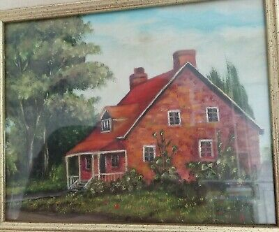 Vintage small original oil painting of an old house under glass framed