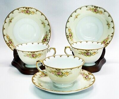 Royal Embassy China Tea Cup and Saucer Set of 3 Lincoln Pattern Made in Japan