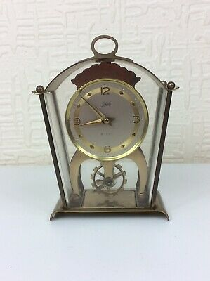 Vintage Schatz & Sohne German 2 Jewel 8 Day Brass Mantle Skeleton Clock