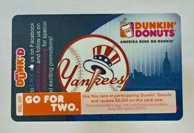 2012 Dunkin Donuts Gift Card. NEW YORK YANKEES SGA Card. Mint. W/W shipping.