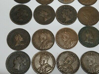 Lot Of 17 Canada Large Cent Coins Mixed Dates Late 1800s EARLY 1900s Circulated