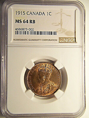 1915 Canada Large Cent MS 64 NGC RB