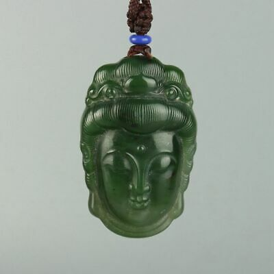 Chinese Exquisite Hand-carved Guanyin Carving Hetian jade Pendant