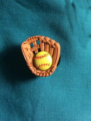 Cute Softball & MITT GLOVE Soft Ball Sports Croc Hole Accessories Shoe Charms