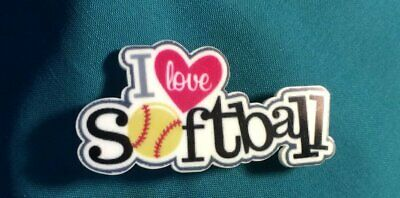 Cute I Heart Love Softball Team Sports Button Croc Hole Accessories Shoe Charm