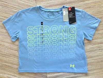 NWT UNDER ARMOUR Girl's T-Shirt Crop Top Blue Short Sleeve Size YLG Ret $20
