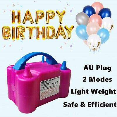 Portable Electric Balloon Inflator Pump Two Nozzle Air Blower Party 600W Power