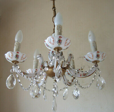 Antique French opalescent glass with roses, crystals and chains chandelier