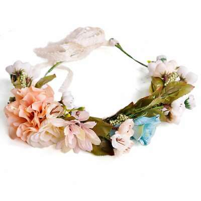 Boho Flower Crown Floral Hair Garland Headband Wreath Headpiece Handmade HS23