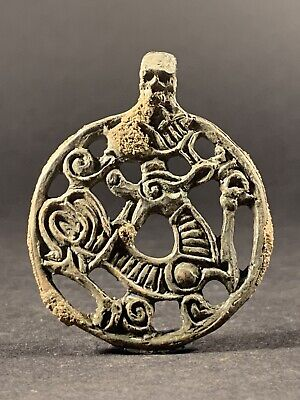 V Rare Ancient Viking Norse Bronze Entwined Dragons Odin Face Amulet Circa 800Ad